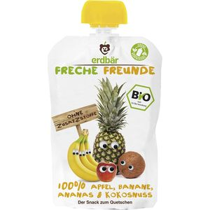 Piure bio de mere, banane, ananas si nuca de cocos Erdbar Freunde