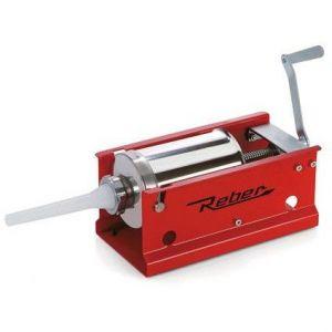 Maşină manuală de umplut cârnaţi Reber 8956 N, Capacitate 3kg, 2 viteze, Cilindru inox 304, 4 ștuțuri de umplere