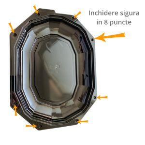 Platou catering servire negru cu capac inclus, PET, 33.5x25 cm - 1 bucata - se vinde la set