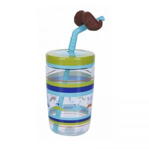 Contigo Bueno Funny Straw Albastru-Mustata 470 ml