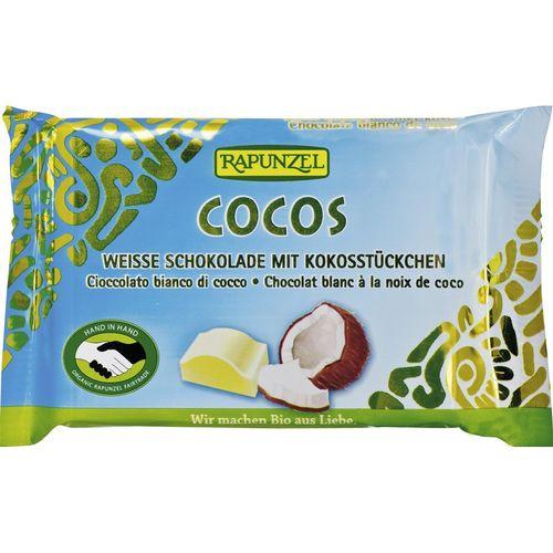 Ciocolată bio albă cristallino cu bucăţele de cocos hih Rapunzel