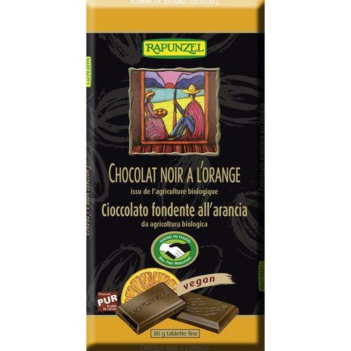 Ciocolata bio amăruie cu portocală si 55% cacao hih Rapunzel