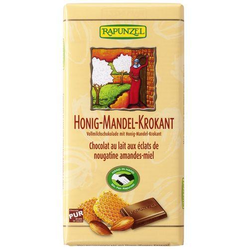 Ciocolata bio din lapte integral crocanta cu miere si migdale Rapunzel