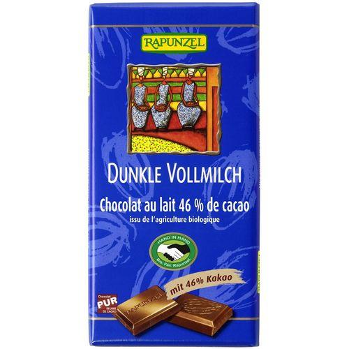 Ciocolata bio neagra cu lapte integral 46% cacao hih Rapunzel