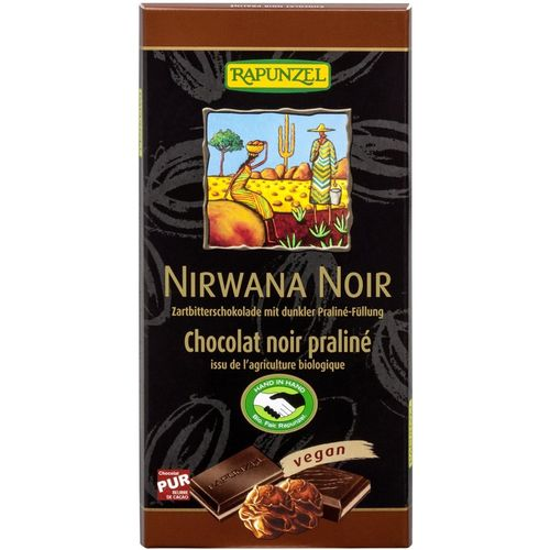 Ciocolata bio nirwana neagra cu praline 55% cacao Rapunzel