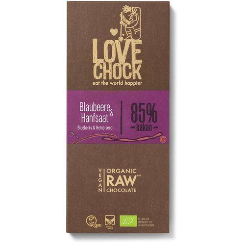 Ciocolata raw vegana cu afine si seminte de canepa Lovechock