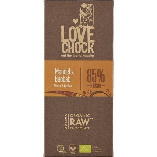 Ciocolata raw vegana cu migdale si baobab Lovechock