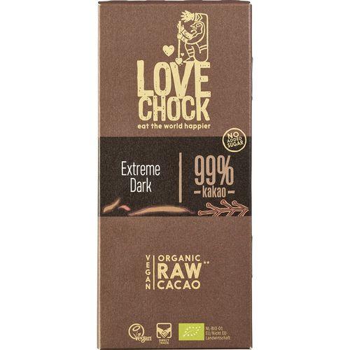 Ciocolata raw vegana extreme dark 99% cacao Lovechock
